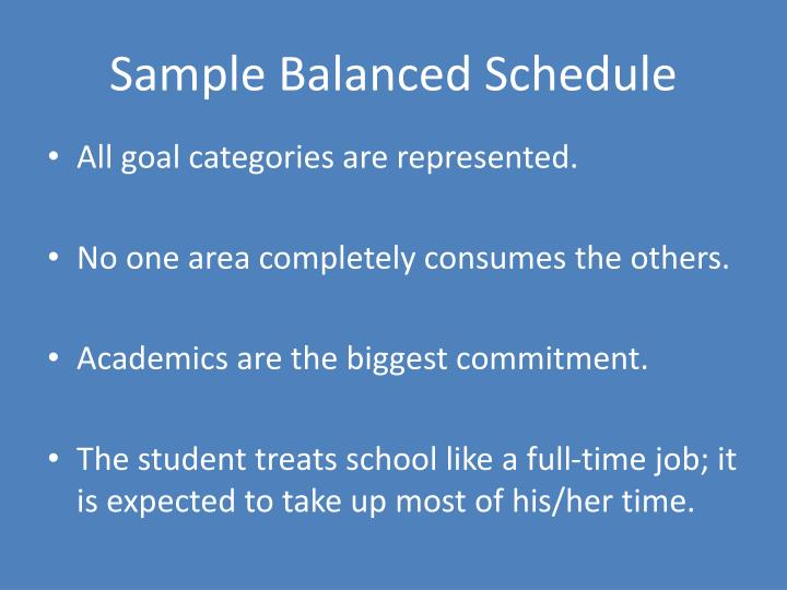 Sample Balanced Schedule