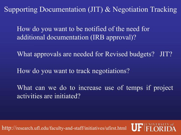 Supporting Documentation (JIT) & Negotiation Tracking