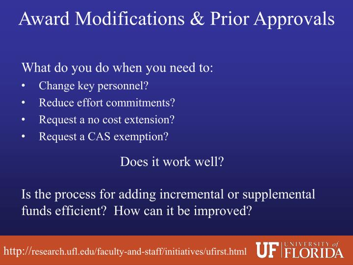 Award Modifications & Prior Approvals