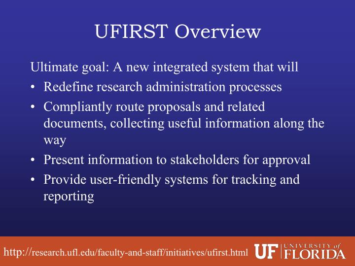 UFIRST Overview