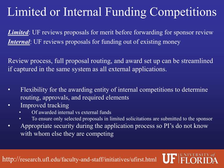 Limited or Internal Funding Competitions