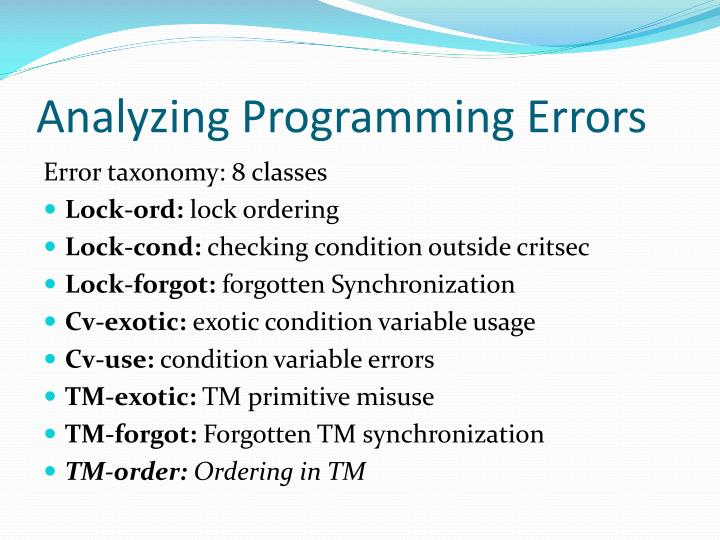 Analyzing Programming Errors