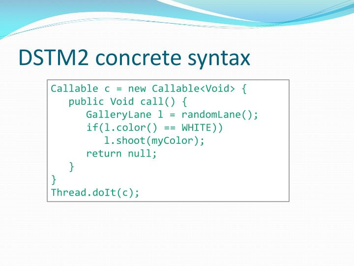DSTM2 concrete syntax