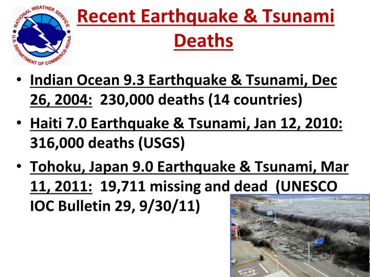 Recent Earthquake & Tsunami Deaths