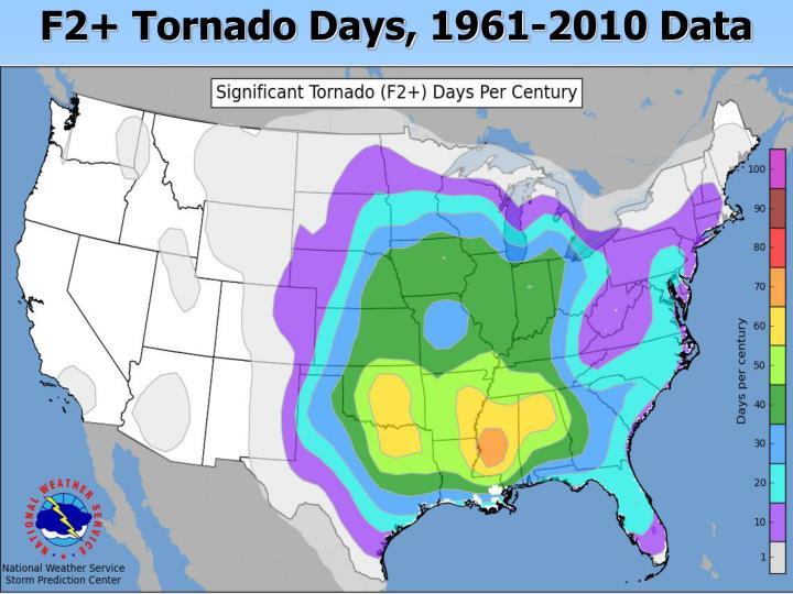 F2+ Tornado Days, 1961-2010 Data