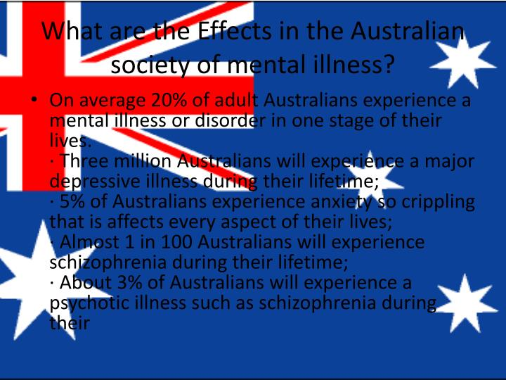 What are the Effects in the Australian society of mental illness?