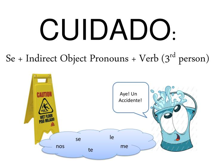 Cuidado se indirect object pronouns verb 3 rd person
