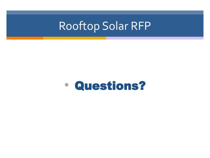 Rooftop Solar RFP
