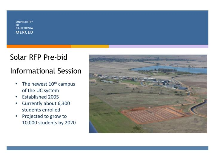Solar rfp pre bid informational session