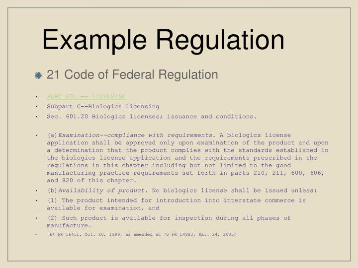 Example Regulation