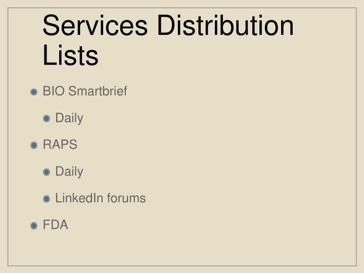 Services Distribution Lists