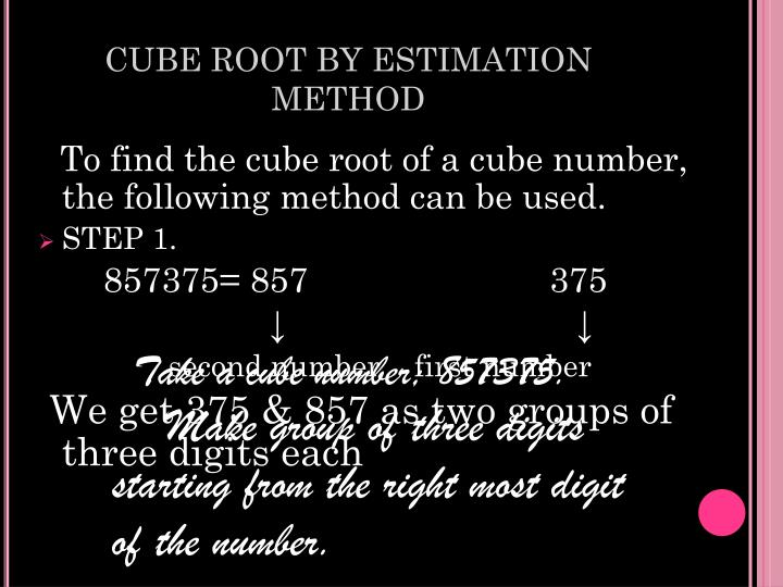 CUBE ROOT BY ESTIMATION