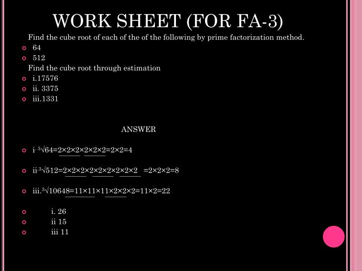 WORK SHEET (FOR FA-3)