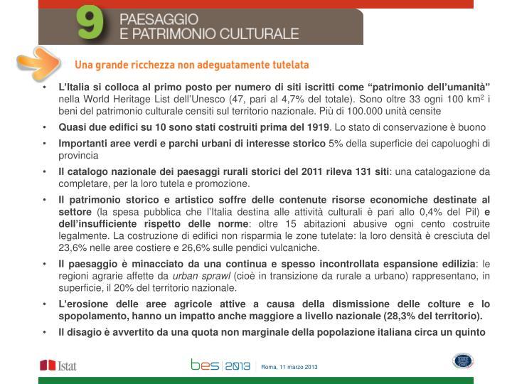 """L'Italia si colloca al primo posto per numero di siti iscritti come """"patrimonio dell'umanità"""""""