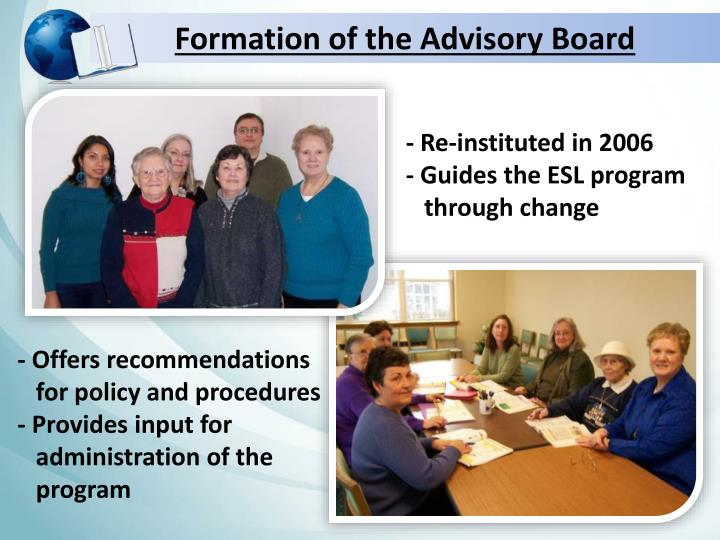Formation of the Advisory Board