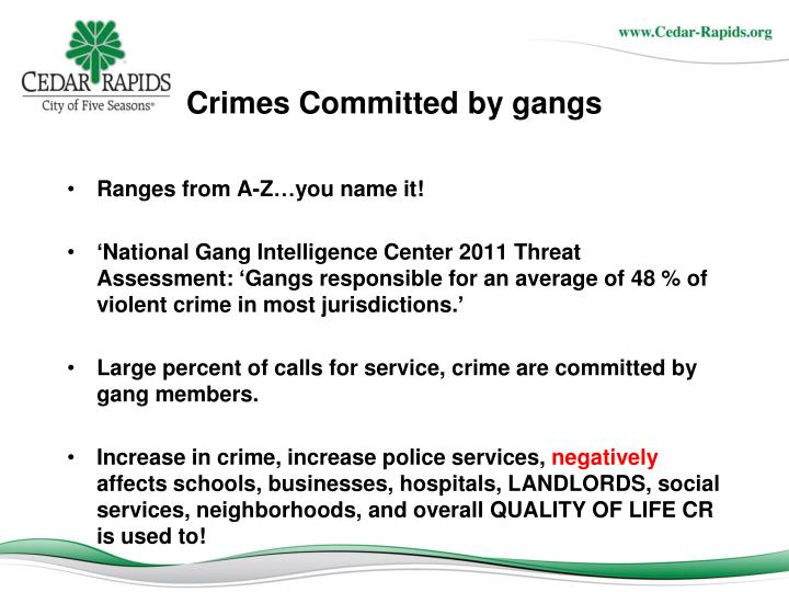 Crimes Committed by gangs