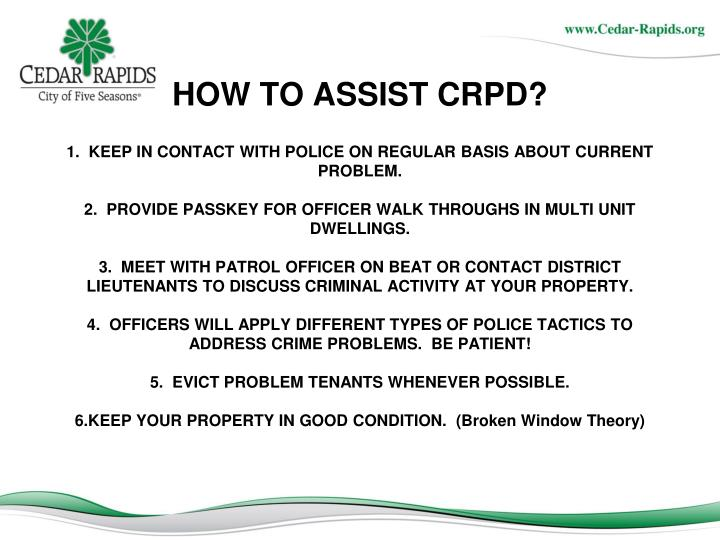 HOW TO ASSIST CRPD?