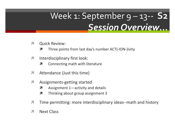 Week 1 september 9 13 s 2 session overview