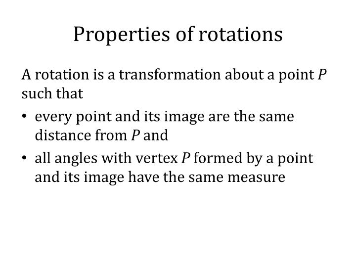Properties of rotations