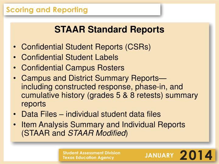 STAAR Standard Reports