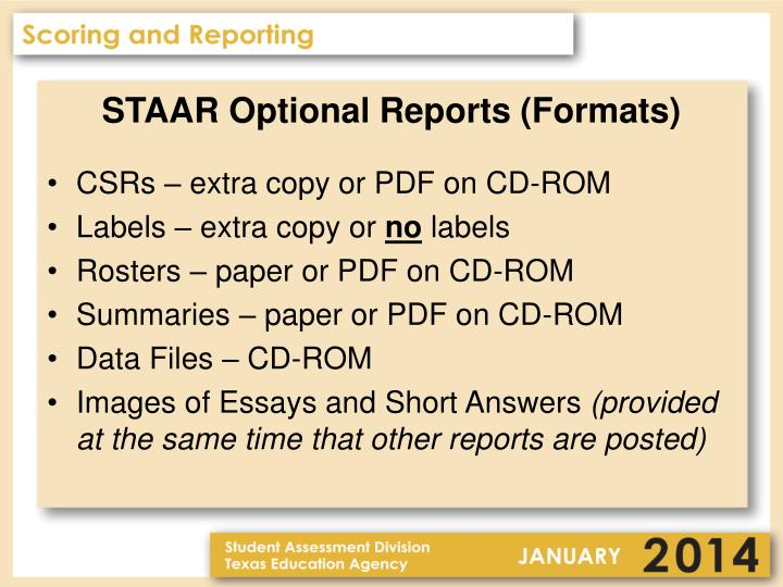 STAAR Optional Reports (Formats)