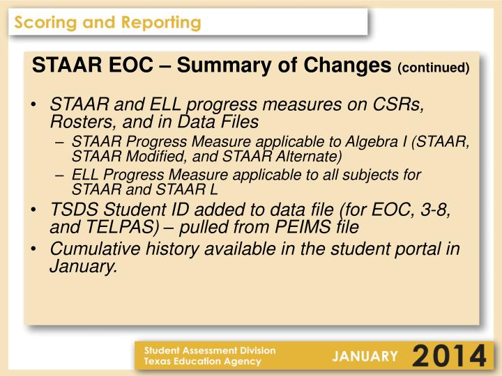 STAAR EOC – Summary of Changes