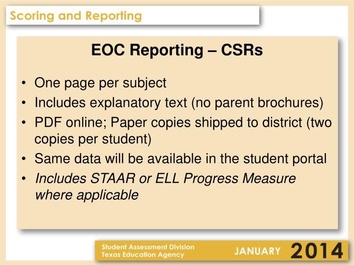 EOC Reporting – CSRs