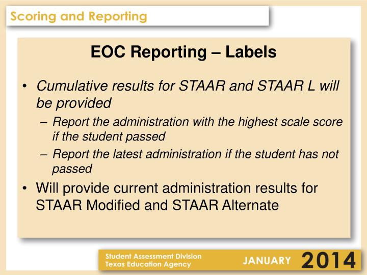 EOC Reporting – Labels