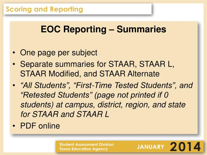 EOC Reporting – Summaries