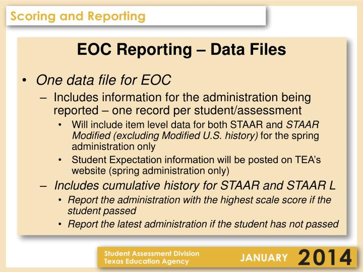 EOC Reporting – Data Files