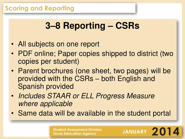 3–8 Reporting – CSRs