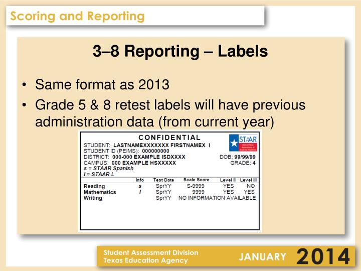 3–8 Reporting – Labels