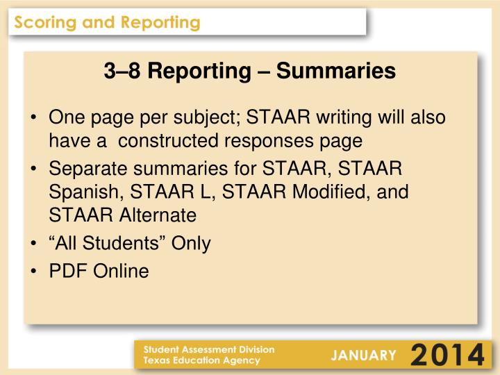 3–8 Reporting – Summaries