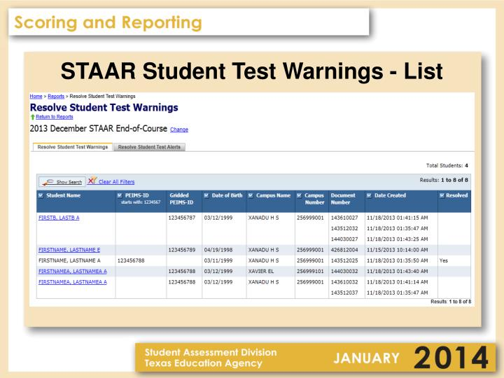 STAAR Student Test Warnings - List