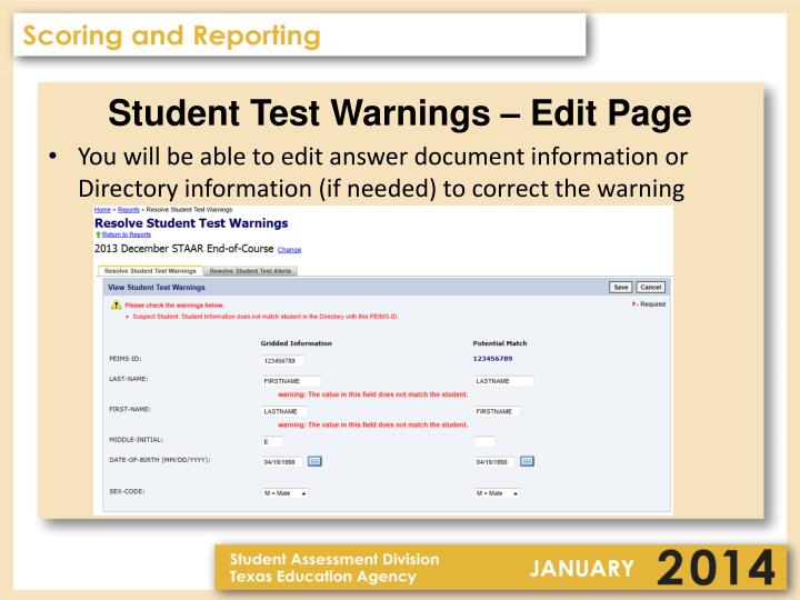 Student Test Warnings – Edit Page