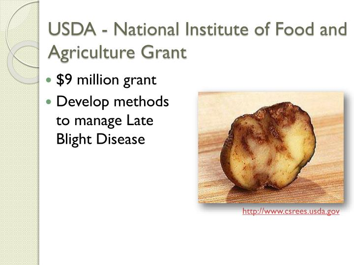 USDA - National Institute of Food and Agriculture Grant