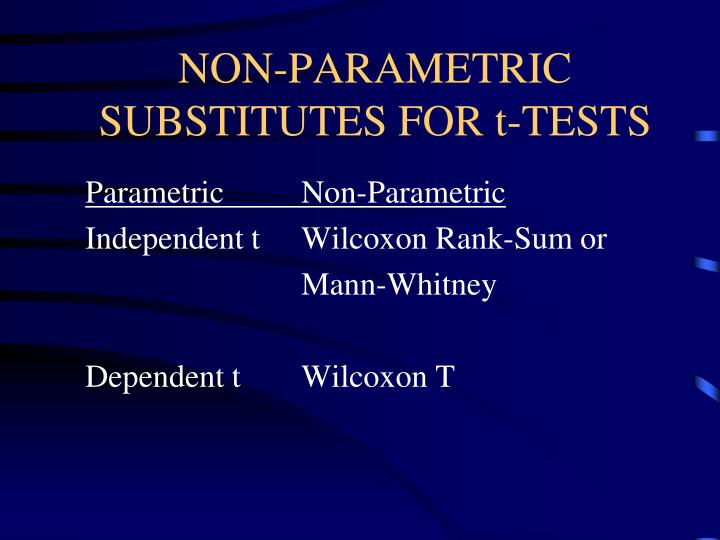 Non parametric substitutes for t tests