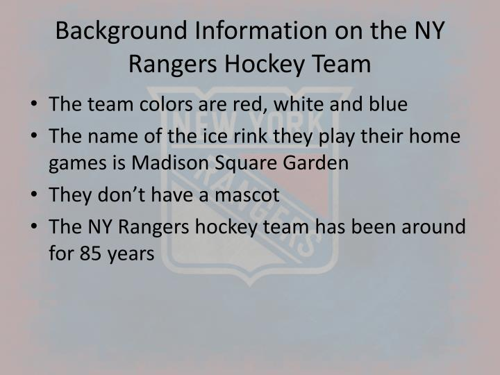Background information on the ny rangers hockey team
