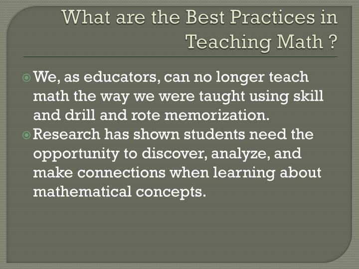 What are the Best Practices in Teaching Math ?