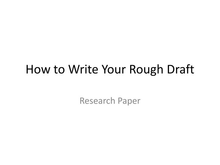 Draft for a research paper?