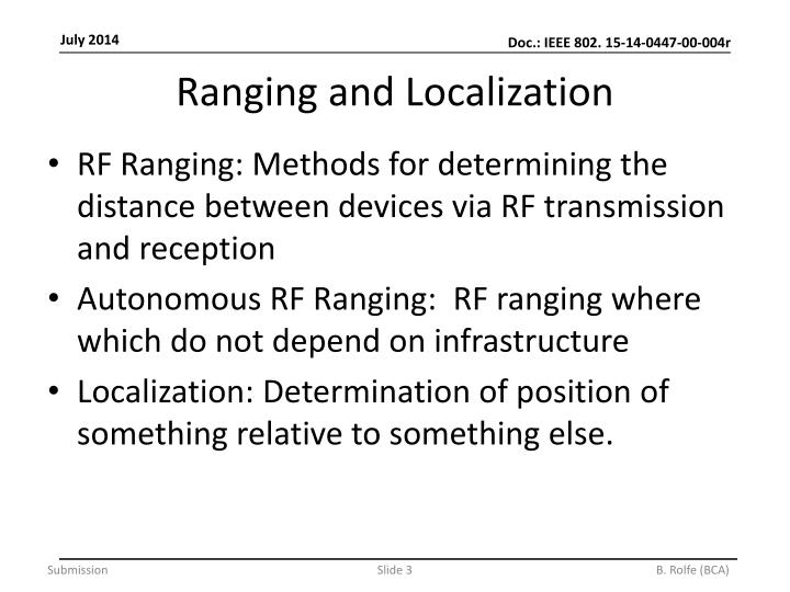 Ranging and localization