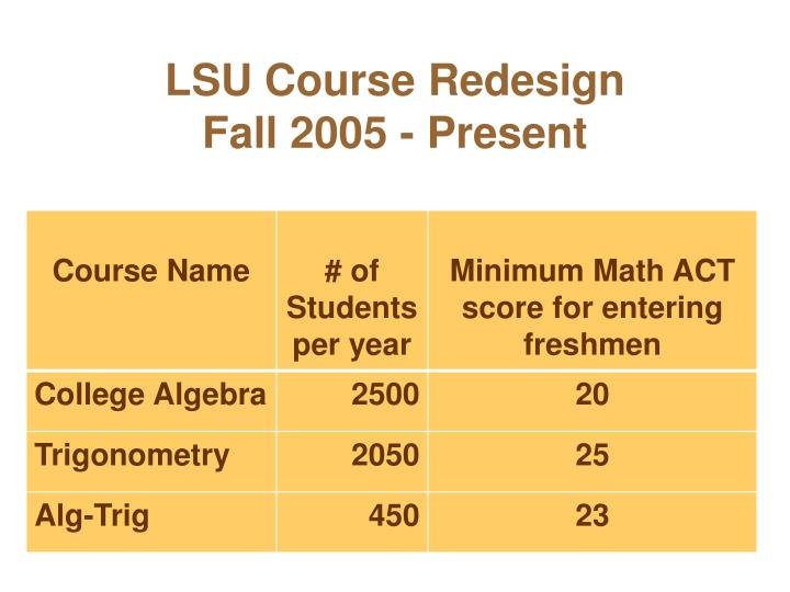 Lsu course redesign fall 2005 present