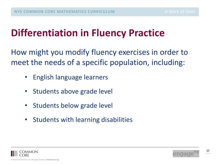 Differentiation in Fluency Practice