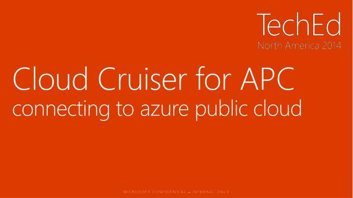 Cloud Cruiser for APC
