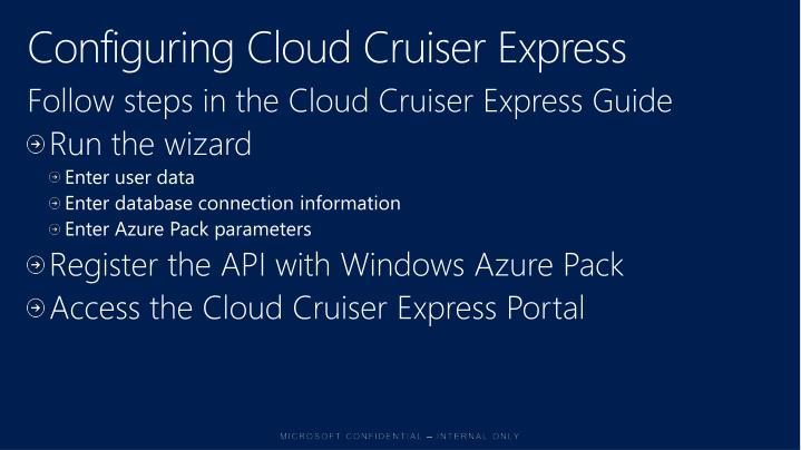 Configuring Cloud Cruiser Express