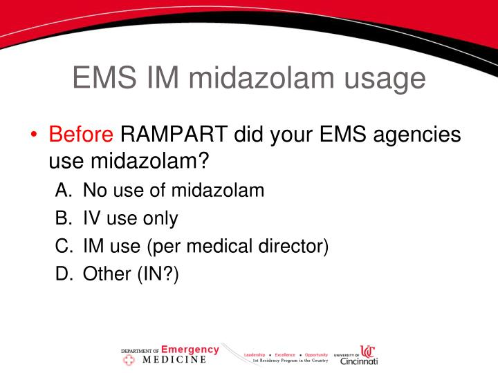EMS IM midazolam usage