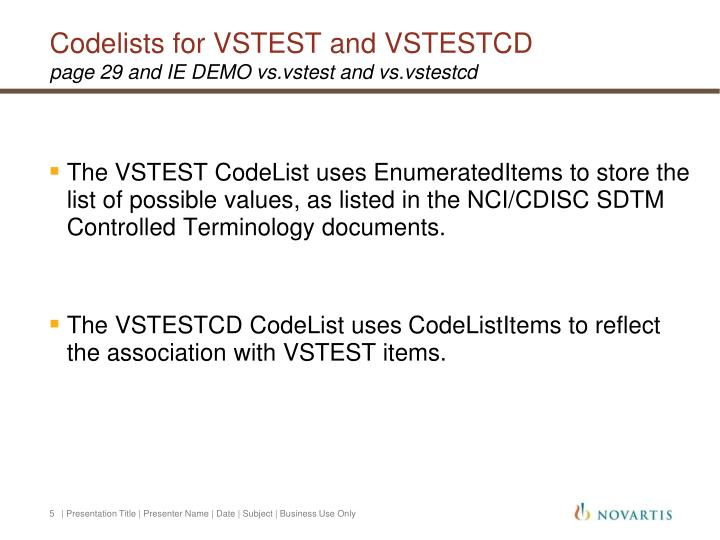 Codelists for VSTEST and VSTESTCD