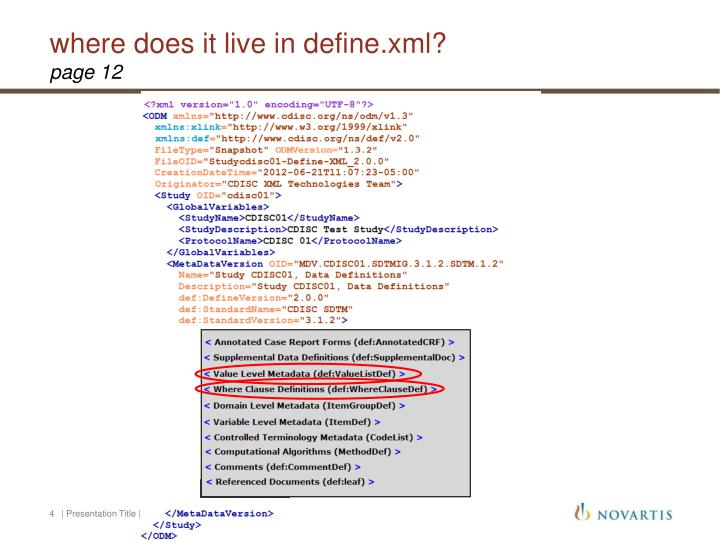 where does it live in define.xml?