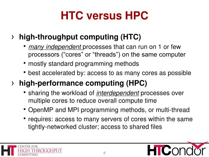HTC versus HPC