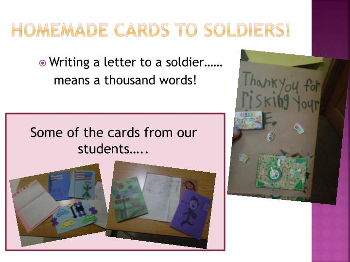 Homemade cards to soldiers!